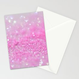 Sparkling Baby Girl Pink Glitter Effect Stationery Cards