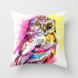 Neon Northern Pygmy Owl Throw Pillow
