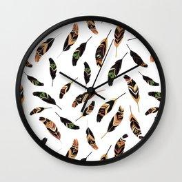 Feathers seamless pattern, vector illustration Wall Clock