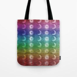 Rainbow Sun and Moon Celestial Hippie Pattern Tote Bag