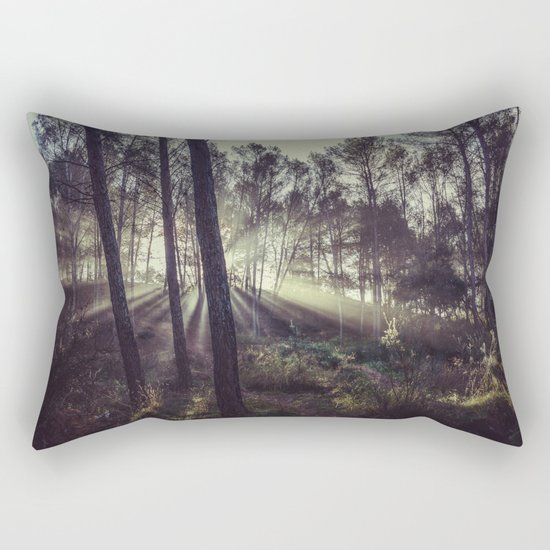 """Forest dreams"". Sunrise through the foggy forest Rectangular Pillow"