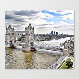 London Bridge Landscape Airbrush Artwork Canvas Print
