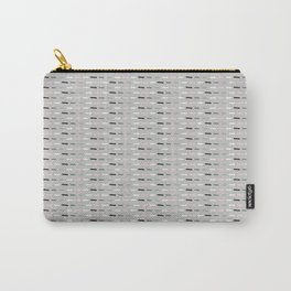 Geometric Doodle Stripes Grey Pink Carry-All Pouch