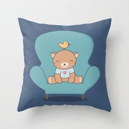 Kawaii Cute Teddy Brown Bear On A Sofa Throw Pillow