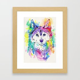Happy - Siberian Husky Watercolor Art Framed Art Print