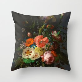 """Rachel Ruysch """"Still Life with Flowers on a Marble Tabletop"""" Throw Pillow"""