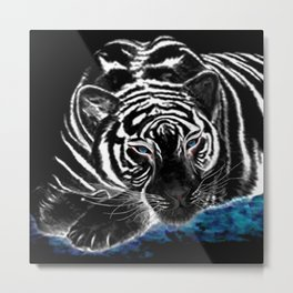 The black tiger with silver whiskers weeps over the world .. Metal Print