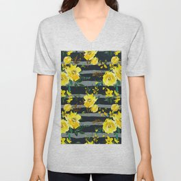 Yellow black gray watercolor modern floral stripes Unisex V-Neck