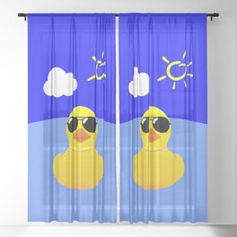 Cool Rubber Duck Yellow Sheer Curtain