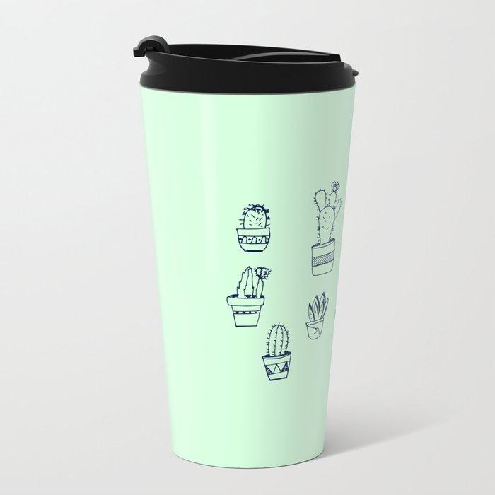 Cactus and Mint Metal Travel Mug