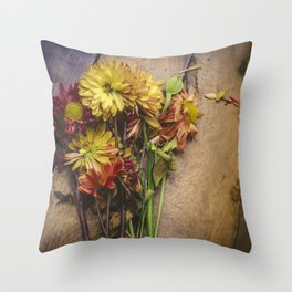 Rustic Flowers (Color) Throw Pillow