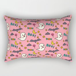 Happy Halloween ghosts, bats, boo and sweets pattern Rectangular Pillow