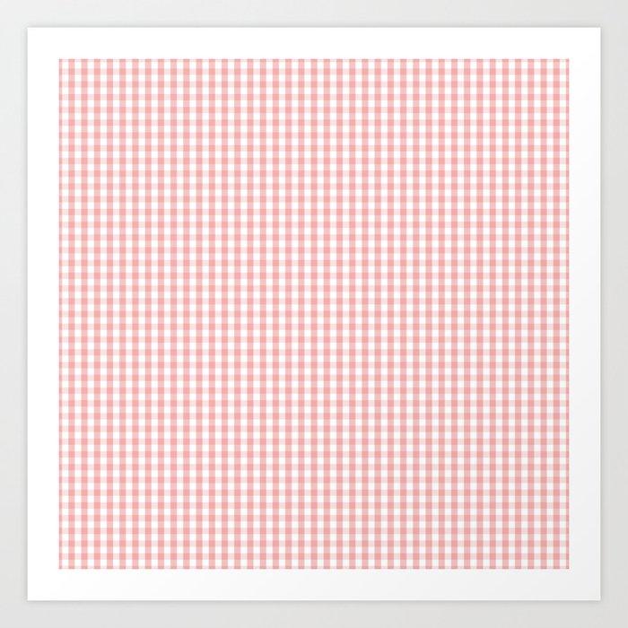 Mini Lush Blush Pink and White Gingham Check Plaid Kunstdrucke