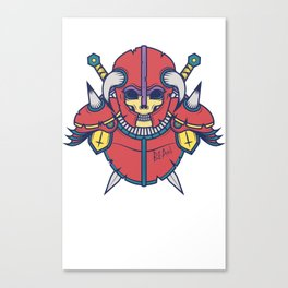 Skull Warrior - Red/green/yellow Canvas Print