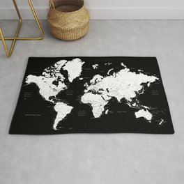Black and white world map with cities Rug