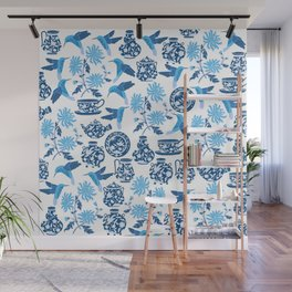 Blue Hummingbirds and Flowers Wall Mural