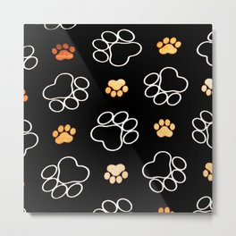 Dog Puppy Paw Prints Gifts Black and Gold Metal Print