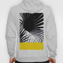 Black and White Tropical Palm Leaves on Sunny Yellow Hoody