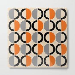 Mid Century Modern Half Circle Pattern 548 Beige Black Gray and Orange Metal Print