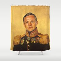 louis armstrong Shower Curtains featuring Neil Armstrong - replaceface by replaceface
