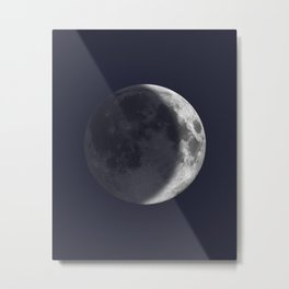 Waxing Crescent Moon on Navy Metal Print