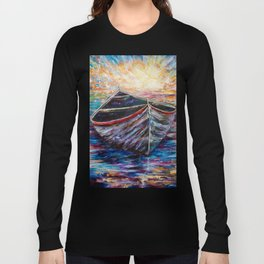 Wooden Boat at Sunrise my Painting with a Palette Knife Long Sleeve T-shirt
