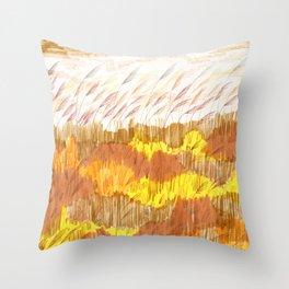 Golden Field drawing by Amanda Laurel Atkins Throw Pillow