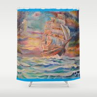 ship Shower Curtains featuring Ship by Kali Koltz