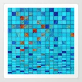 Blue And Red Geometrical Art - Block Party 1 - Sharon Cummings Art Print