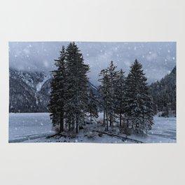 Trees At The Frozen Lago del Predil Rug