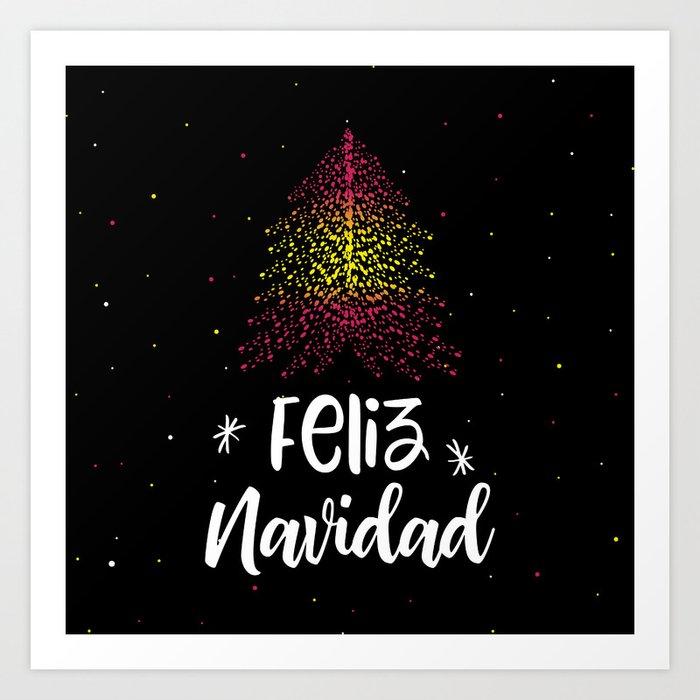 Merry Christmas In Spanish.Merry Christmas And Spanish Flag Art Print By Sashica