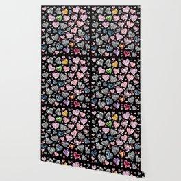 Heart Diamonds are Forever Love Black Wallpaper