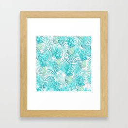 Turquoise Palm Leaves and Pineapples on Pink Framed Art Print