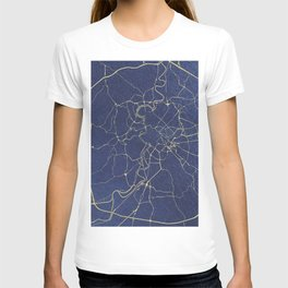 Rome Blue and Gold Street Map T-shirt