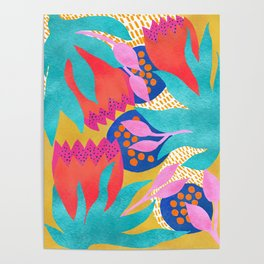 Bold Flower Pattern Yellow Background Poster