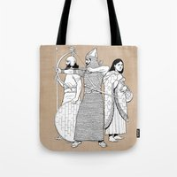 archer Tote Bags featuring Archer by Art of Tom Tierney
