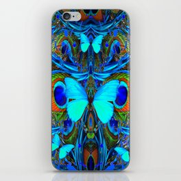 ELECTRIC NEON BLUE BUTTERFLIES & BLUE PEACOCK FEATHERS iPhone Skin