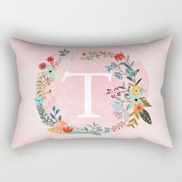 Flower Wreath with Personalized Monogram Initial Letter T on Pink Watercolor Paper Texture Artwork Rectangular Pillow