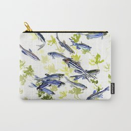 Fish Blue green fish design zebra fish, Danio aquarium Aquatic design underwater scene Carry-All Pouch