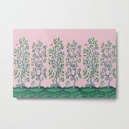 Citrus Grove Chinoiserie Mural in Pink Metal Print