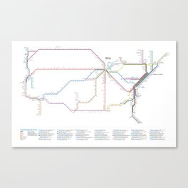 Amtrak Passenger Rail System Map Canvas Print