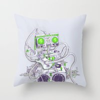 hippy Throw Pillows featuring Hippy robot by Mathijs Vissers