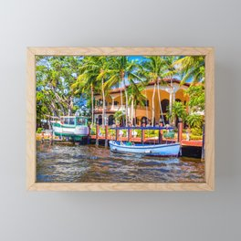 Fishing and Pilot Boat at Dock Framed Mini Art Print