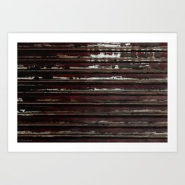 Rusted Metal Chipped Paint Texture - Industrial Line Pattern Art Print