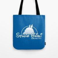 ghibli Tote Bags featuring studio ghibli. by dann matthews