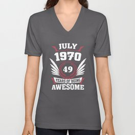 July 1970 49 Years Of Being Awesome Unisex V-Neck