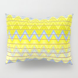 Simple Yellow Grey and Periwinkle Blue Zig Zag Modern Pillow Sham