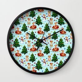 Blue Christmas - From Corgis, Santa And Christmas Trees Wall Clock