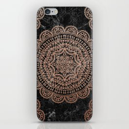 Mandala - rose gold and black marble 2 iPhone Skin