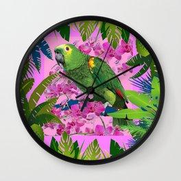 TROPICAL GREEN PARROT JUNGLE ART  ART DESIGN Wall Clock
